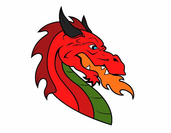 Dessin de t te de dragon europ en colorie par membre non inscrit le 29 de octobre de 2015 - Dessin de tete de dragon ...
