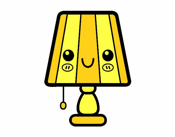 Dessin de une lampe de table colorie par membre non for La maison de la table
