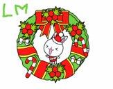 Coloriage Guirlande de Noël et le lapin colorié par lomanlou