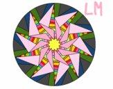 Coloriage Mandala soleil triangulaire colorié par lomanlou