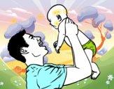 Coloriage Père et bébé colorié par lesteven