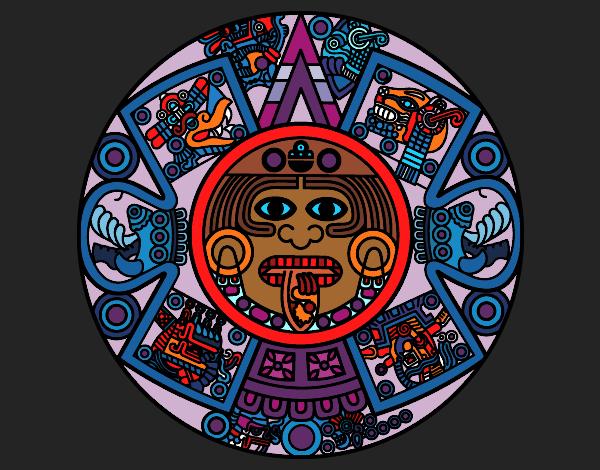 Dessin de calendrier azt que colorie par kake2 le 17 de d cembre de 2015 - Dessin azteque ...