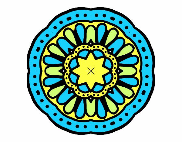Coloriage Mandala mosaïque colorié par Soleilfm