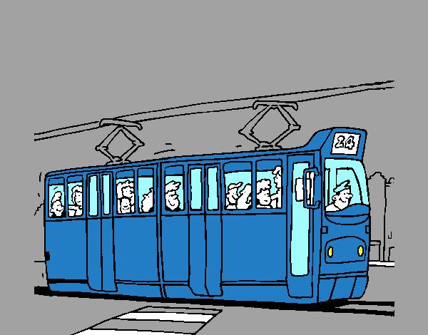 Dessin de Tramway avec des passagers colorie par Membre ...