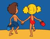 Coloriage Fille et garçon sur la plage colorié par KAKE2