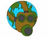 Terre avec masque à gaz