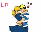 Coloriage Couple amoureux colorié par lomanlou