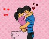 Coloriage Couple amoureux colorié par faycal