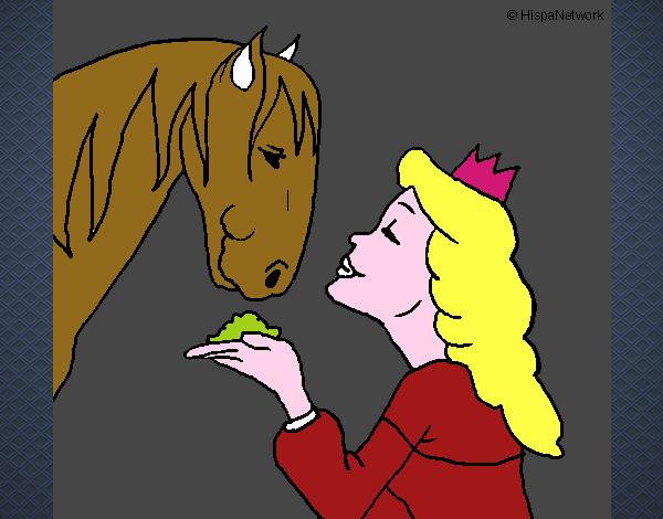 Dessin de princesse et cheval colorie par ophelie le 12 de janvier de 2016 - Princesse cheval ...
