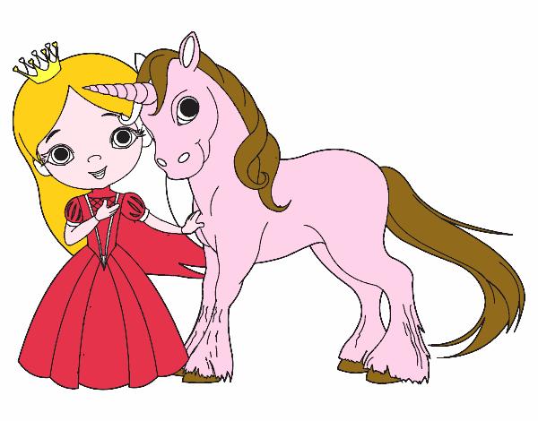 Dessin De Princesse Et Licorne Colorie Par Ophelie Le 14 De Janvier De 2016 A Coloritou Com