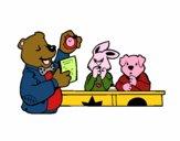 Professeur ours et ses élèves