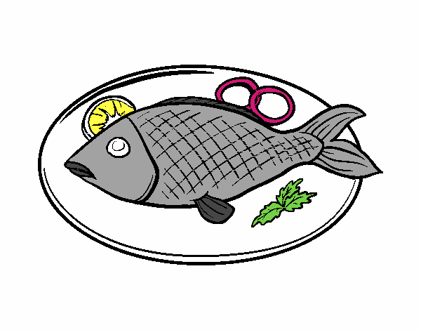 Dessin de plat de poisson colorie par sadiane le 20 de for L alimentation du poisson rouge