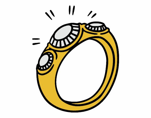 dessin de bague diamant