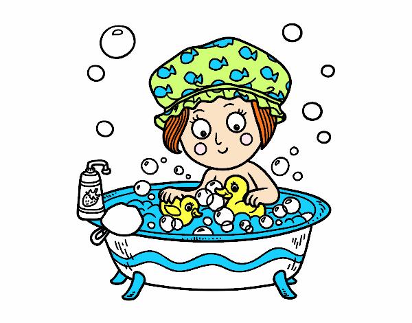 Dessin de jeune fille de prendre un bain colorie par for Logiciel dessin salle de bain