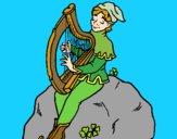Lutin jouant de la harpe