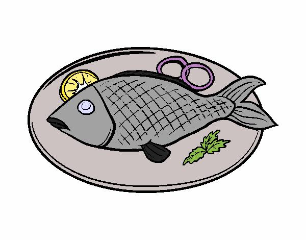 dessin de plat de poisson colorie par membre non inscrit. Black Bedroom Furniture Sets. Home Design Ideas