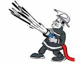 Pompier avec lance d'incendie