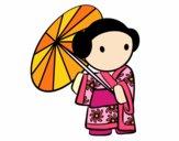 Geisha avec le parapluie