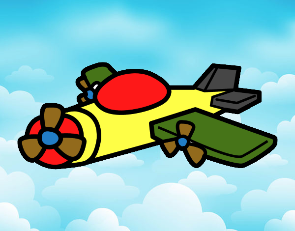 Dessin de avion h lice colorie par arthur le 18 de avril - Dessin avion stylise ...
