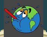 Coloriage Réchauffement climatique colorié par Axel
