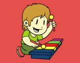 Enfant avec xylophone