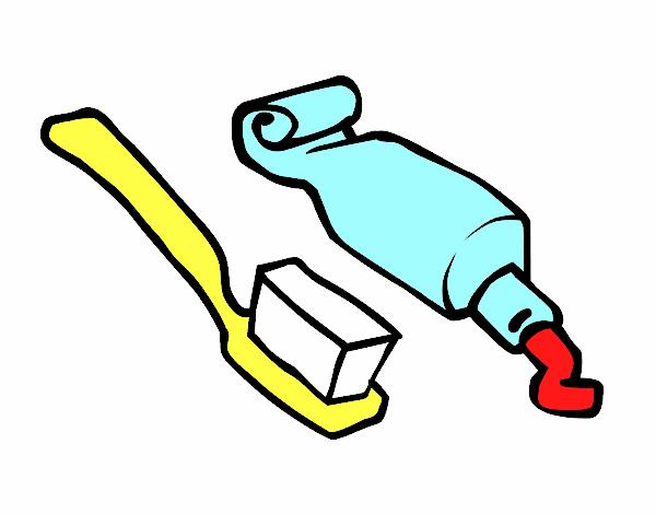 Dessin de brosse dents et p te dentifrice colorie par for Brosse salle de bain
