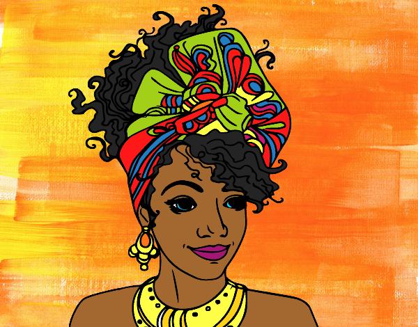 Dessin de femme africaine colorie par marhone le 01 de juin de 2016 - Dessin africaine ...