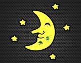 Coloriage Lune avec des étoiles colorié par raphael
