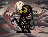 Coloriage Signe du singe colorié par raphael