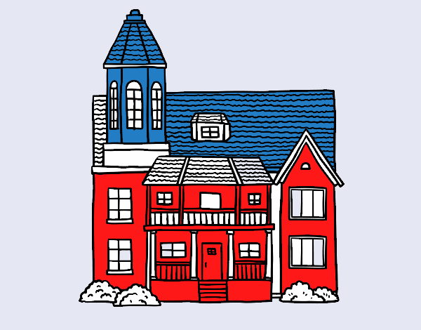 Dessin de maison de deux tages avec une tour colorie par for Logo avec une maison