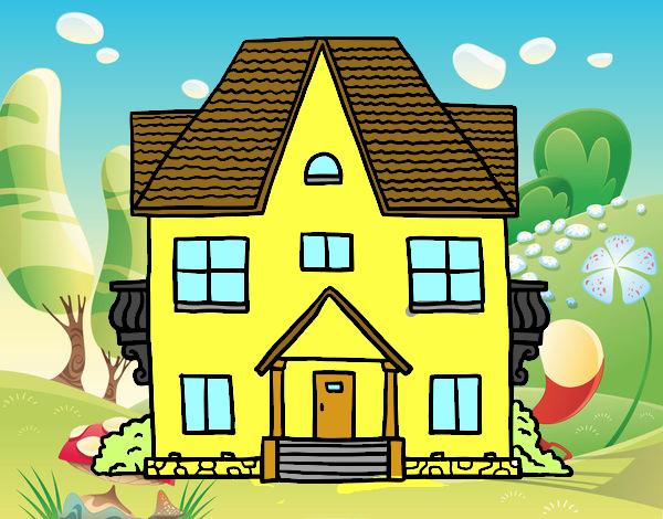 Dessin de maison avec balcon colorie par membre non for Maison avec balcon