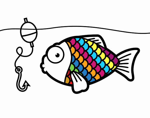 Dessin de poissons sur le point de mordre l 39 hame on colorie par membre non inscrit le 29 de - Dessins de poissons de mer ...