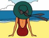 Coloriage Femme regardant la mer colorié par melou