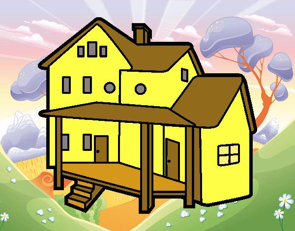 Dessin de maison avec porche colorie par membre non for Maison avec porche