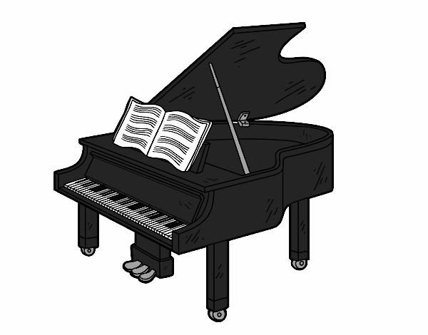 Dessin de une grand piano ouvert colorie par membre non - Coloriage piano ...