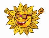 Le soleil avec des lunettes de soleil