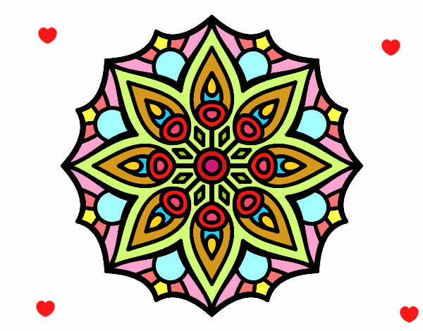 Coloriage Mandala symétrie simple colorié par lomanlou