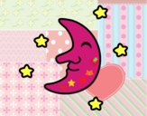 Lune avec des étoiles