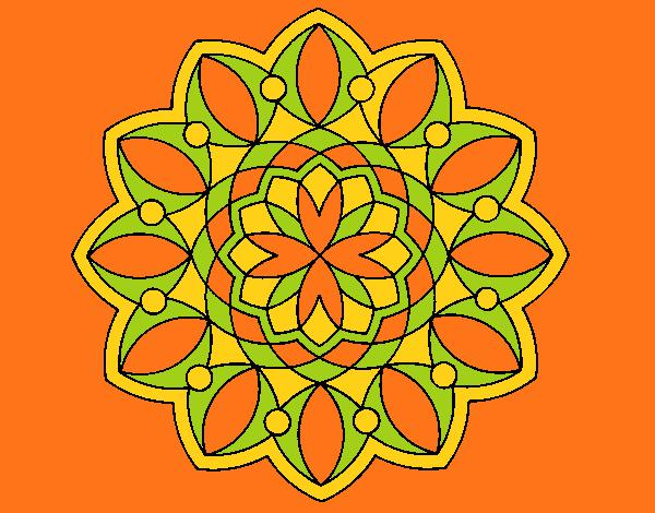 Coloriage Mandala 3 colorié par mosaique