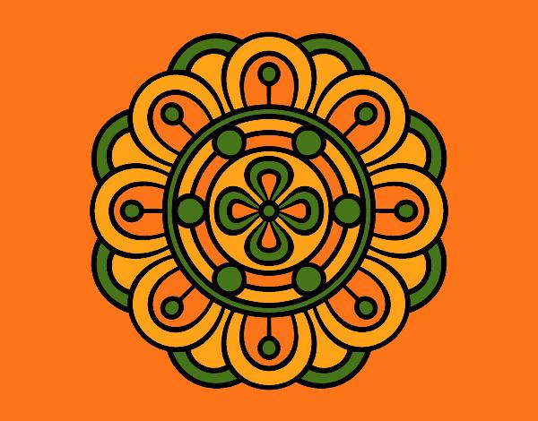 Coloriage Mandala fleur créative colorié par mosaique