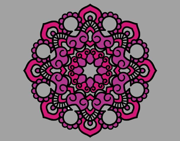 Coloriage Mandala réunion colorié par mosaique