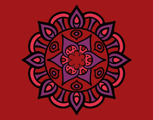 Coloriage Mandala vie vegetale colorié par mosaique