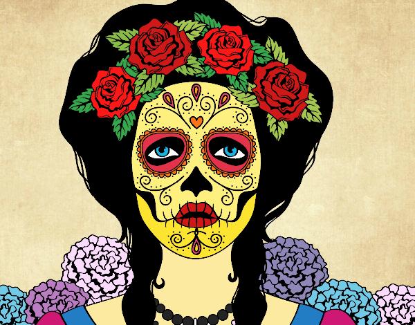 Dessin De Crâne Mexicain Femme Colorie Par Elomunoz Le 01 De
