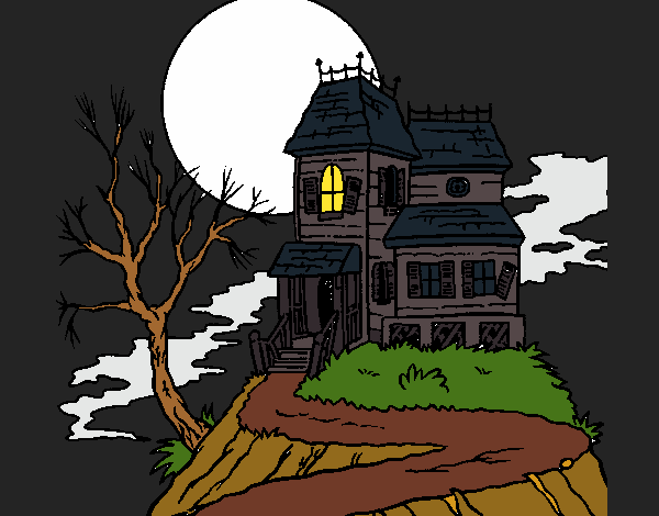 Dessin de maison hant e colorie par elomunoz66 le 02 de novembre de 2016 - Dessin de maison hantee ...