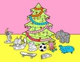 Coloriage Arbre de Noël avec jouets colorié par luluroro