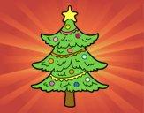 Coloriage Arbre de Noël décoré colorié par JojoW