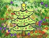 Coloriage Arbre de Noël décoré colorié par MARIN