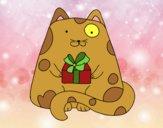Chat avec un cadeau