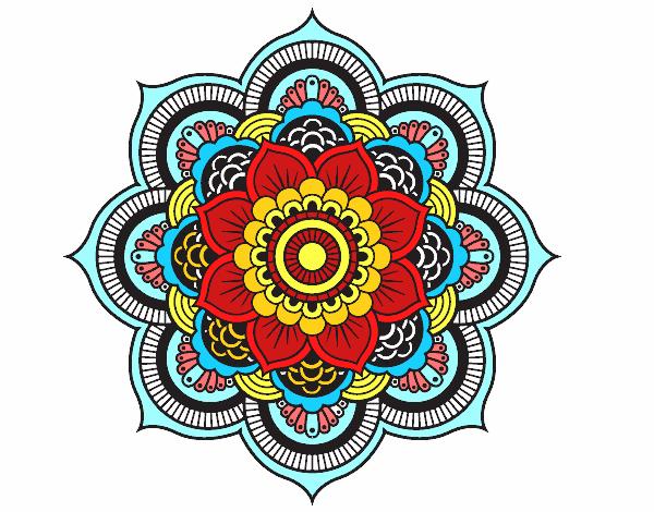 Coloriage Mandala fleur oriental colorié par mera