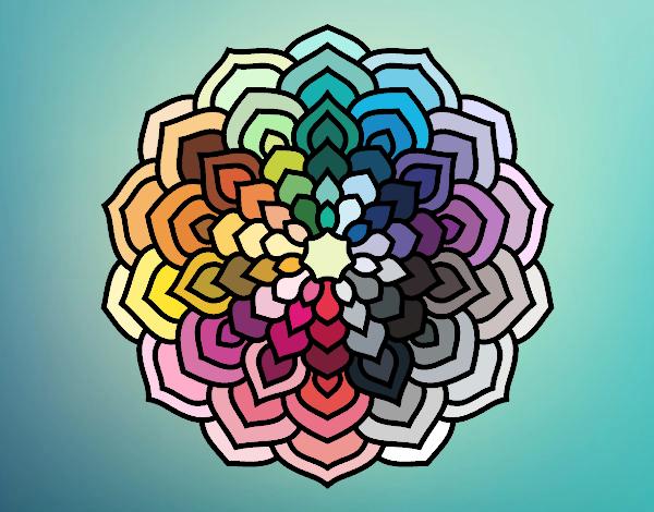 Coloriage Mandala pétales de fleur colorié par atchicanon